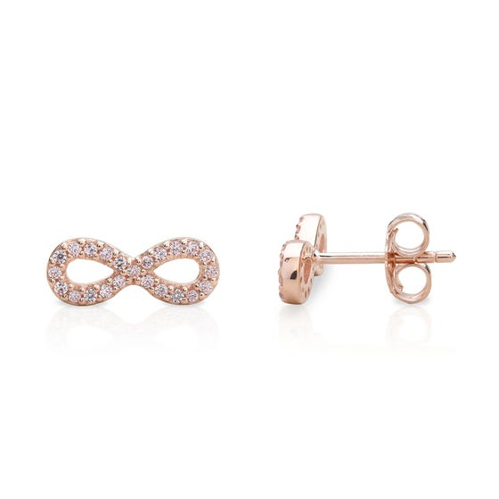 Aithre Rose Gold Plated Silver Infinity Earrings