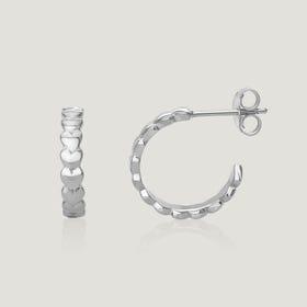 Love Silver Heart Hoop Earrings