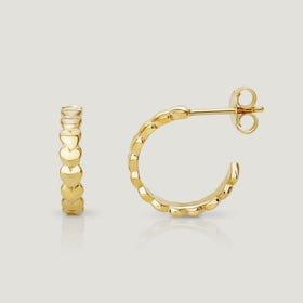 Love Gold Plated Silver Heart Hoop Earrings
