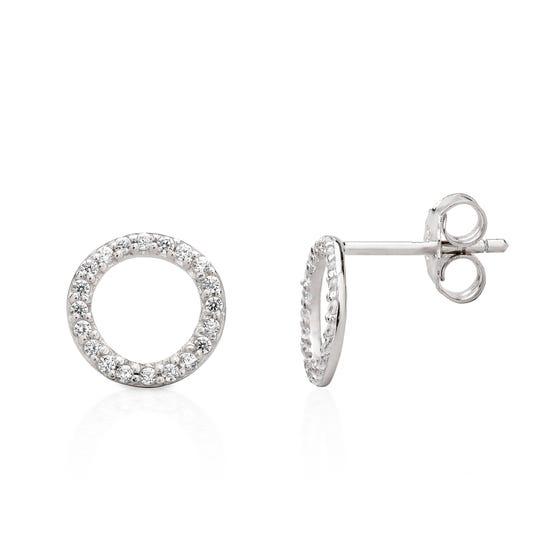 Selene Silver Sparkling Circle Earrings