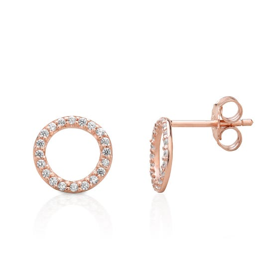 Selene Rose Gold Plated Silver Sparkling Circle Earrings