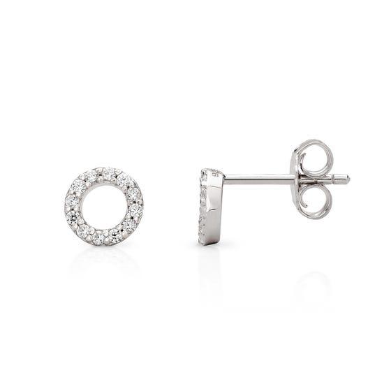 Selene Silver Small Circle Stud Earrings
