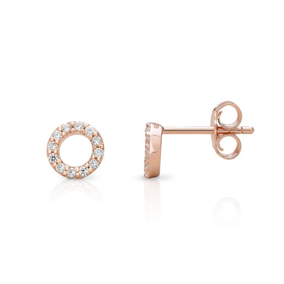 Selene Rose Gold Plated Silver Small Circle Stud Earrings