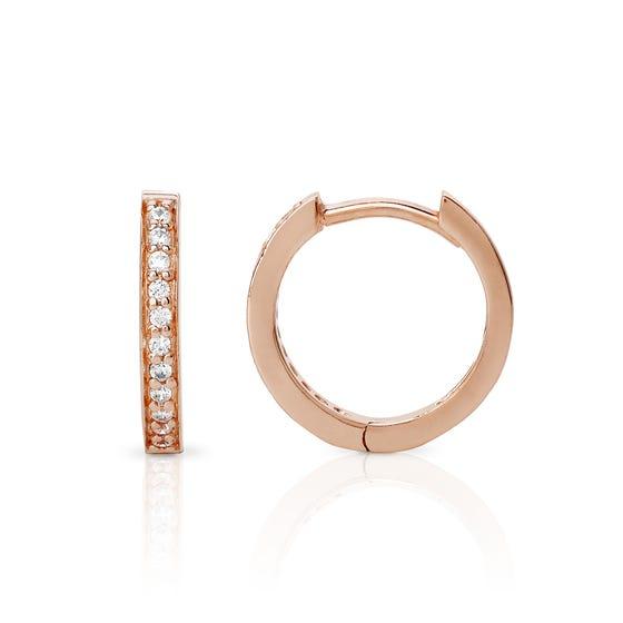 Selene Rose Gold Plated Silver Channel Set Hoop Earrings