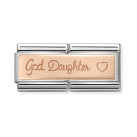 Classic Rose Gold God Daughter Double Charm
