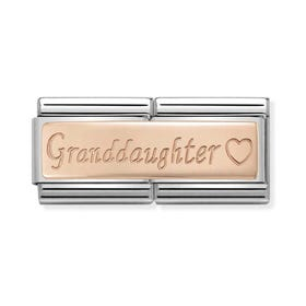Classic Rose Gold Granddaughter Double Charm