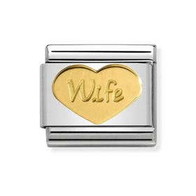Classic Gold Wife Heart Charm