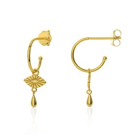 Neith Gold Plated Silver Eye Hoop Earrings