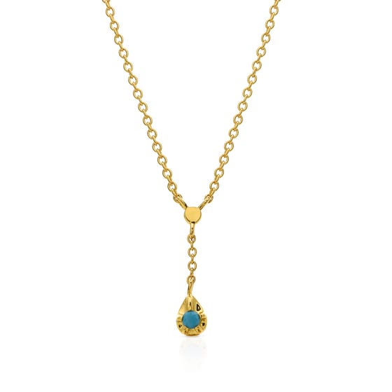 Neith Gold Plated Silver Stone Set Necklace