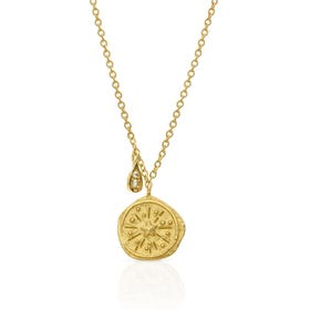 Sia Gold Plated Silver Hammered Disc Necklace