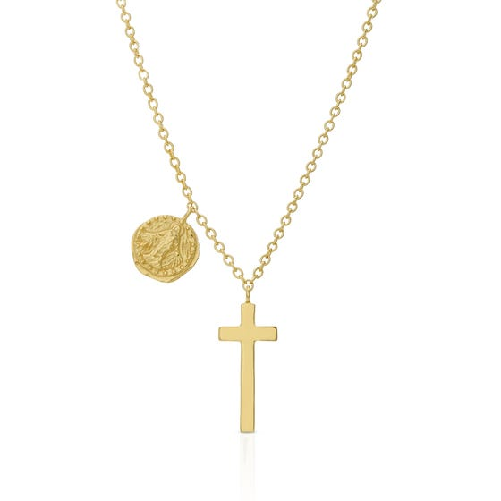 Sia Gold Plated Silver Coin & Cross Necklace