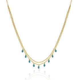 Neith Gold Plated Silver Enamel Layered Necklace