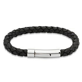 Black Leather Bracelet with Stainless Steel Clasp