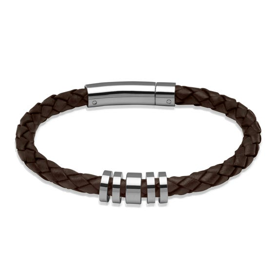 Dark Brown Leather Bracelet with Steel Elements