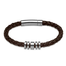 Dark Brown Leather Bracelet with Steel Elements