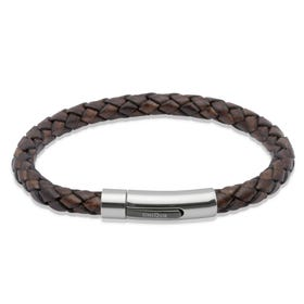 Dark Brown Leather Steel Clasp Bracelet