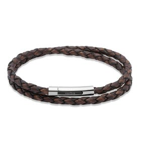 Dark Brown Double Leather Steel Clasp Bracelet