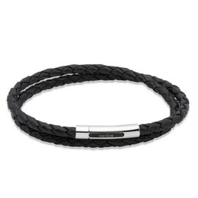 Black Double Leather Steel Clasp Bracelet