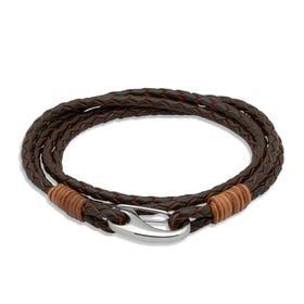 Brown Leather Multi-Strand Steel Clasp Bracelet