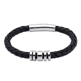 Black Leather Bracelet with Steel Elements
