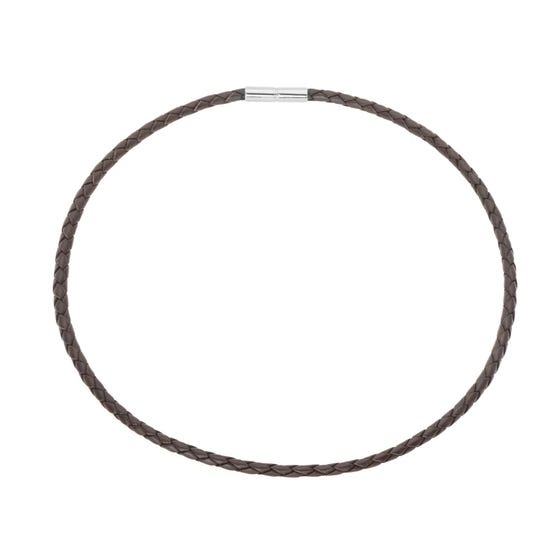 Brown Leather Necklace with Stainless Steel Clasp