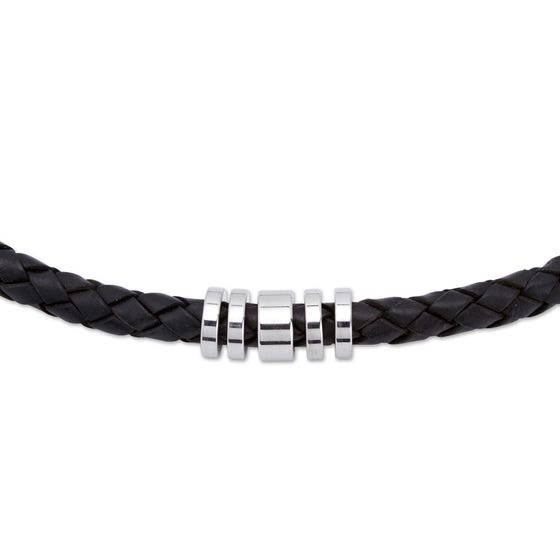 Black Leather Necklace with Steel Elements
