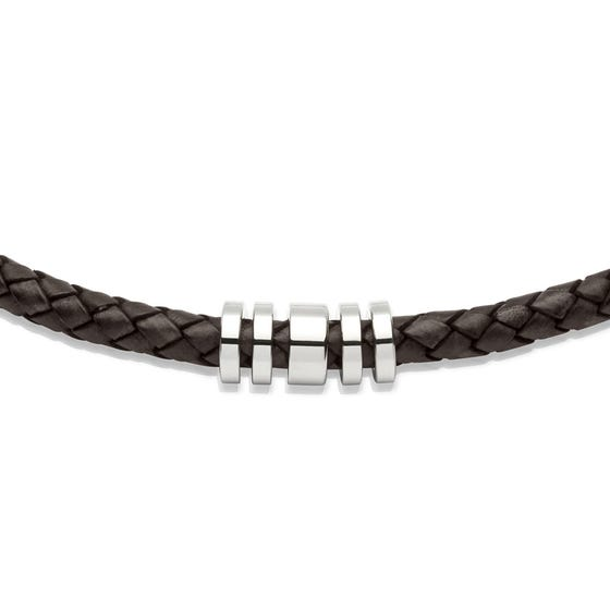 Dark Brown Leather Necklace with Steel Elements