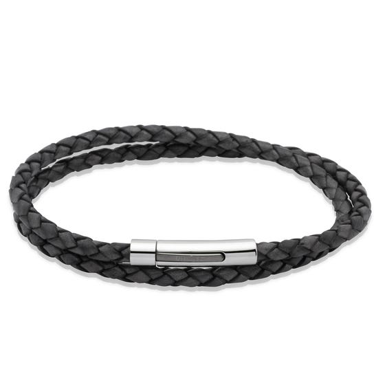 Black Double Leather Bracelet with Steel Clasp