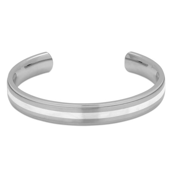 Stainless Steel Bangle with Silver Inlay
