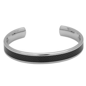 Stainless Steel Bangle with Carbon Fibre Inlay