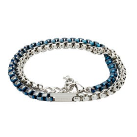 Steel Double Chain Silver & Blue Bracelet