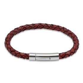 Tan Woven Leather Steel Clasp Bracelet