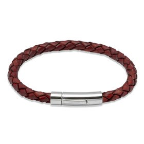 Tan Woven Leather Steel Clasp Bracelet