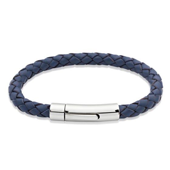 Blue Woven Leather Steel Clasp Bracelet
