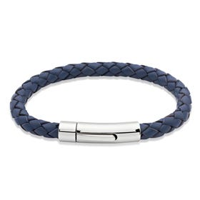 Blue Woven Leather Steel Clasp Bracelet