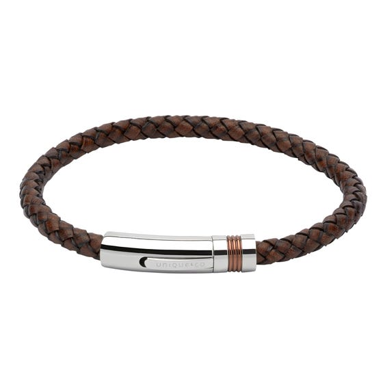 Antique Dark Brown Leather Steel Clasp Bracelet