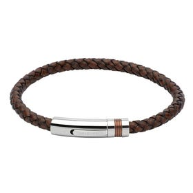 Antique Dark Brown Leather Steel Clasp Bracelet