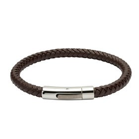 Brown Leather Bracelet with Gun Metal Clasp