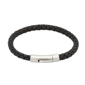 Black Leather Bracelet with Matte Steel Clasp