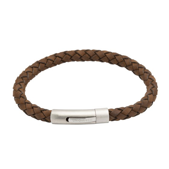 Brown Leather Bracelet with Matte Steel Clasp