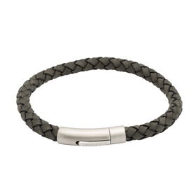 Antique Black Leather Bracelet & Matte Steel Clasp