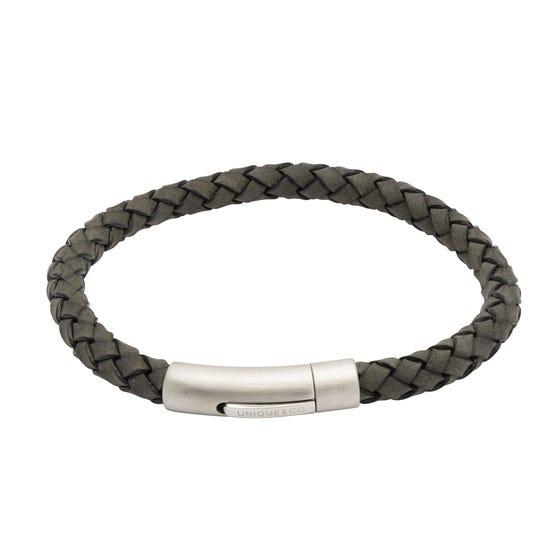 Antique Black Leather Bracelet & Matte Steel Clasp