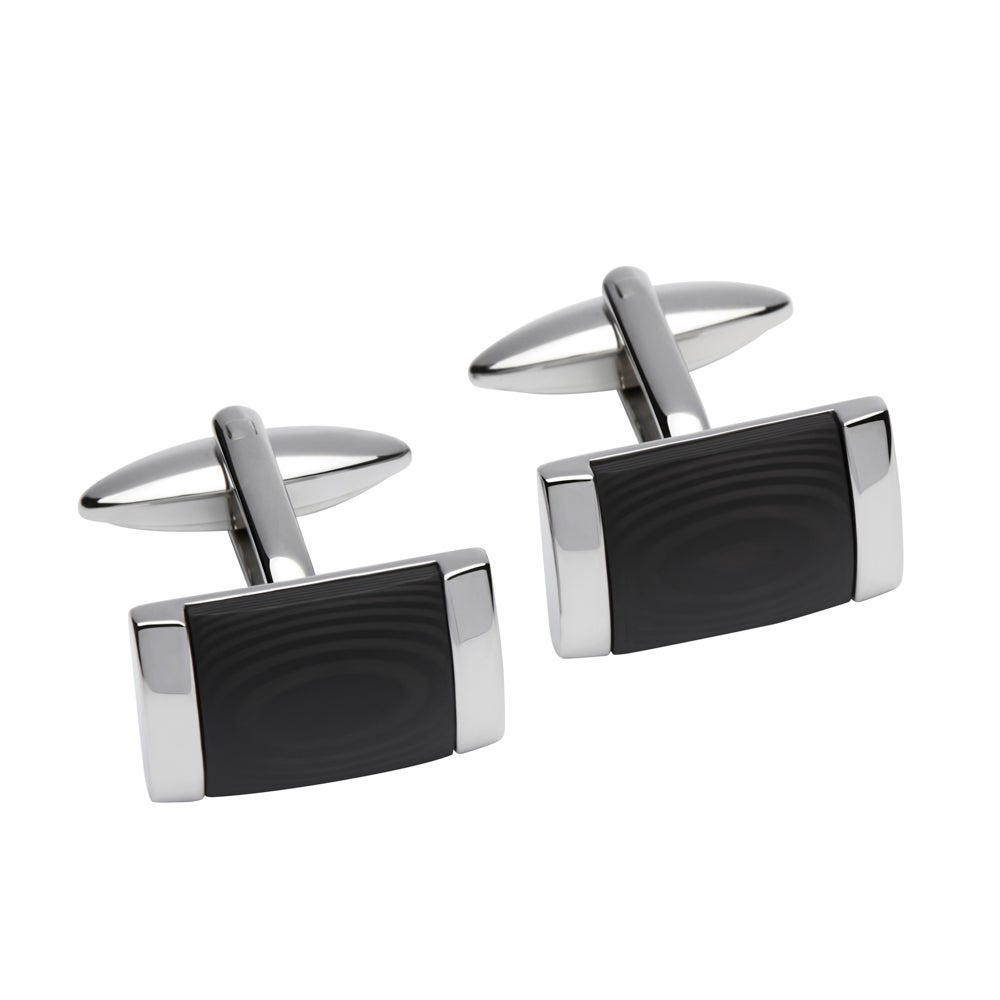 Unique & Co Stainless Steel Cufflinks with Black Centre Detail
