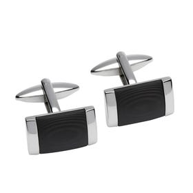 Stainless Steel Cufflinks with Black Centre Detail