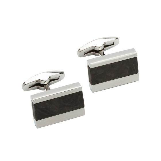 Steel Rectangular Cufflinks with Carbon Fibre