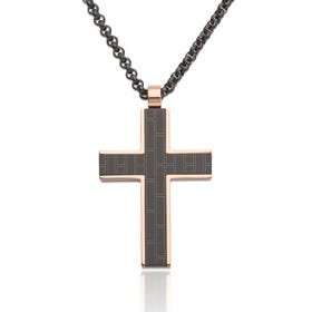 Rose & Black Plated Steel Cross Necklace