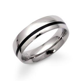 Steel Ring with Black Enamel 6mm