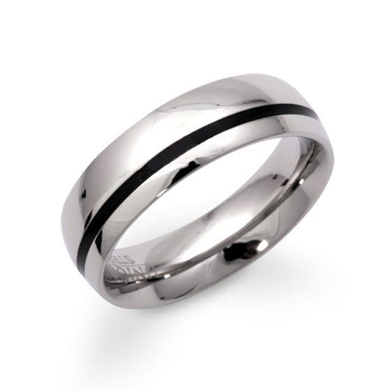 Steel Ring with Black Enamel