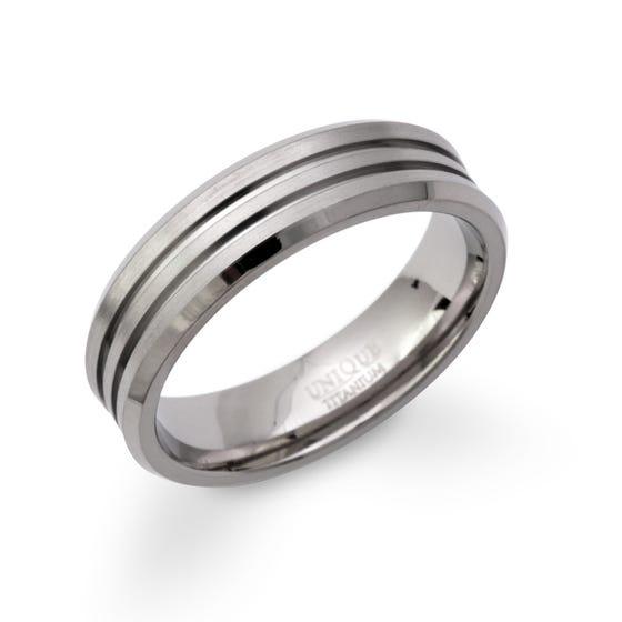 Titanium Double Groove 6mm Ring