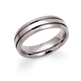 Titanium 6mm Ring with Ridged Detail